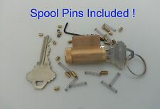 LOCKSMITH PRACTICE SCHLAGE LOCK WITH SPOOL PINS, NEW! PICK ALL BRASS LOCKS