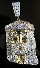 1/2ct Mens New Exclusive 10K Yellow Gold Jesus Face Head Design Pendant Charm