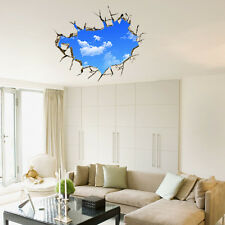 Removable Sky 3D Broken Room Mural Funny Creative Wall Sticker Vinyl Decal Decor
