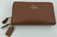 New Authentic Coach F53896 Leather Double Zip Phone Wallet/Wristlet Saddle/Brown