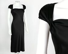 ST JOHN EVENING BLACK SILK SATIN CAP SLEEVE DRESS SZ 6