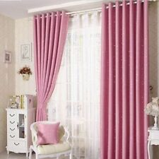 2 x Blockout Eyelet Curtains 180cm x 230cm (Drop) Pink Stars Girls Kids Room