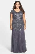 NWOT  gunmetal  Adrianna Papell Beaded V-Neck Gown (Plus Size) size 18W
