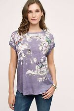 NWT Sz Small Anthropologie Baroque Floral Flowers Tee Purple Top -Runs Big