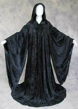 BLACK Velvet Volturi Robe Cloak Wicca Star Wars Wizard Game of Thrones Cosplay