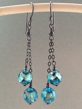Vintage Deco Venetian Peacock Blue Foil Glass Oxidized Sterling Silver Earrings