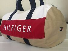NWT TOMMY HILFIGER  DUFFLE/GYM BAG COLOR  KHAKI/RED/ WHITE  LARGE