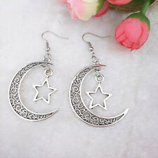 2016 Handmade silver Moon Pentagram  earrings friend gift