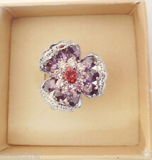 NEW KIRKS FOLLY SPARKLING PURPLE PANSY FLOWER  RING  SIZE 6 SILVERTONE