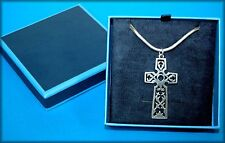 """RETIRED James Avery Sterling Silver Filigree Large Cross w/ 30"""" Sterling Chain"""