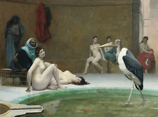 Oil painting nude young women portraits Le hermit bathing in boudoir huge bird
