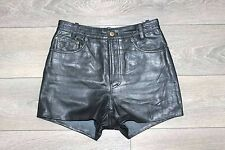 Black 100% Real Leather Zip Fly Men's Shorts Size W 29 L 3 Festival