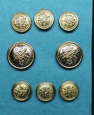 Blazer Jacket Button Set Banks Kingsley Gold Silver Metal Crown Swords Shield