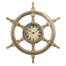 "Imax Wood Ship Wheel Clock 47243 Wall Clocks 26""d NEW"
