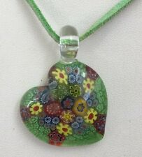 Suede Rope Necklace With Green Floral Glass Heart Pendant 20 Inches