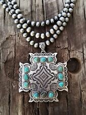 COWGIRL Bling CROSS Pewter surge plate beads Southwestern NECKLACE