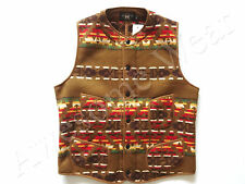 New Ralph Lauren RRL Brown Indian Print Poly Blend Warm Fleece Vest size M