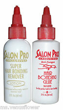 Salon Pro Exclusives Anti Fungus Hair Bonding Glue 2 oz White & Remover Kit .