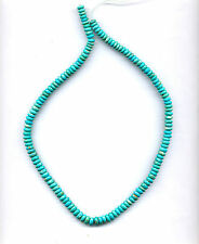 "MEXICAN CAMPITOS TURQUOISE RONDELLE BEADS - 18"" Strand - 994B"