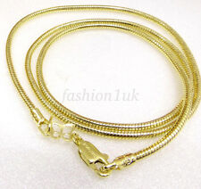 Men Unisex 47cm 14K Yellow Gold Plated Lobster Clasp Snake Chain Rope Necklace