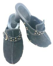 Womens Fashion Clogs Black Suede Studded Wood Heel Closed Toe Ladies Size 7M