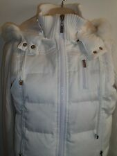 Bebe Sport BBSP S Jacket White Down Feather Rabbit Fur Puffer Hoodie Snowbunny