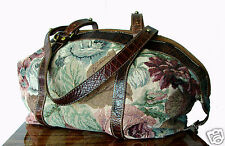 BRAHMIN Bag Satchel Floral Tapestry & Croco Leather Trim Rare VTG USA + Strap