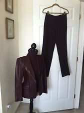 KORS MICHAEL KORS Burgundy Leather Blazer, T-Neck Sweater, Pants Suit S/M 4/6/10
