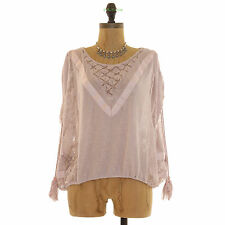 FREE PEOPLE NEW ROMANTICS SOUTH OF THE EQUATOR TOP TASSELS PINK S B51
