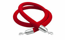 "Barrier Rope Crowd Control Stanchion 60"" Red Velvet Rope with Silver Hardware"