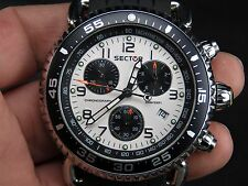 NEW NOS SECTOR 290 CHRONOGRAPH SPORTS 100M SWISS ETA DATE QUARTZ MENS WATCH