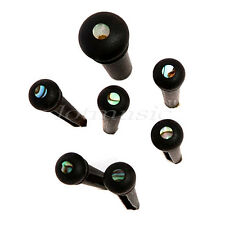 Set of 6 Guitar Ebony Wood & Abalone Guitar Bridge End Pin Guitar Parts