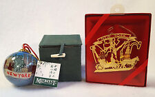 Reverse Painted Ornament New York City plus Gold Macy's Souvenir NYC Ornament