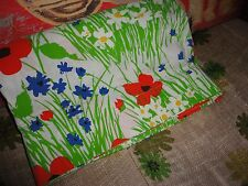 VINTAGE MOHAWK TASTEMAKER POPPIES RED GREEN BLUE FLORAL TWIN TWIN XL FLAT SHEET