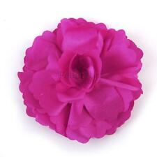 Fashion Satin Flower Hair Clip Bridal Wedding Party Corsage Pin Brooch Rosy
