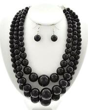 Three Layers Black Lucite Bead Gradual Necklace Earring Set