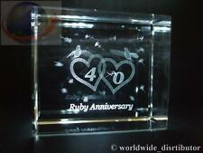 LASER CRYSTAL PAPERWEIGHT WEDDING 40th RUBY ANNIVERSARY 3693 PRESENTATION BOXED