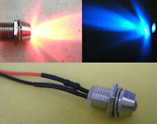 10pcs,Red & Blue Flash 5mm Pre-Wired Bike 9v-12V LED + Metal Holder Bezel,12RB