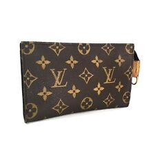 Authentic Louis Vuitton Brown Monogram Zipper Bucket Cosmetic Pouch Wallet Purse