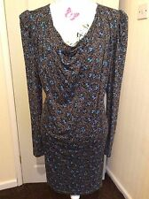LADIES 'FRENCH CONNECTION' LONG-SLEEVED FLORAL DRESS  SIZE (16)