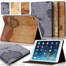 ★Map iPad Air 2 & iPad 6 Schutz Hülle+Folie Kunstleder Tasche Smart Cover Case★