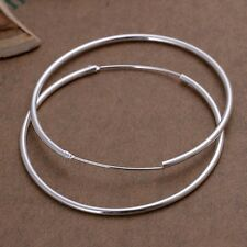 New Women 925 Sterling Silver Plated Round Hoop Dangle Earring Studs Jewelry
