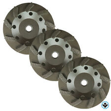 "(3) 4.5"" Turbo Concrete Grinding Cup Wheel 9 Segs 5/8-11 Thread"