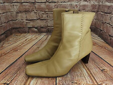 Ladies Lilley & Skinner Light Tan Leather Zip Up Mid Heel Ankle Boots UK 6