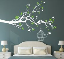 Asmi Collections Pvc Wall Stickers White Branches Birds and Green Leaves