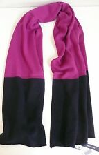 Magaschoni Women's Colorblocked Cashmere Scarf Plum Navy Blue NWT