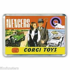 NOSTALGIA  CORGI TOY ARTWORK-  THE AVENGERS -GIFT SET JUMBO FRIDGE MAGNET