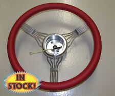 "15"" Red Banjo Steering Wheel with Integrated  Splined GM Adapter - BANJO-RD"