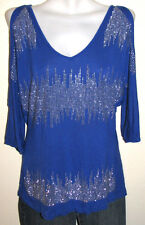 INC Royal Blue Rayon Cold Shoulder Top w Silver Studs Size XL