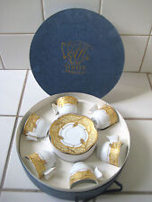 Classic Coffee  Set, Porcelain 6 Cups & Saucers w/ Gold & Yellow Trim